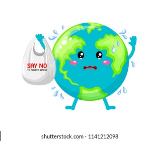 Sadness cartoon globe character holding plastic bag. Say no to plastic bag. Global warming concept. Illustration isolated on white background.
