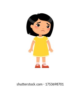 Sadness little Asian girl flat vector illustration. Upset child standing alone cartoon character. Lonely kid in bad mood, person unhappy expression isolated on white background