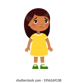 Sadness little Indian girl. Upset dark skin child standing alone cartoon character. Lonely kid in bad mood, person unhappy expression isolated on white background