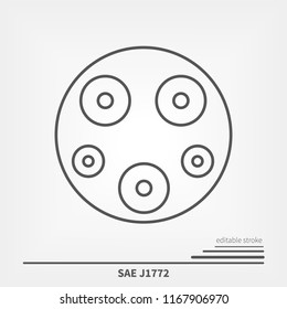 SAE J1772 USA and Japan charger standard. Line icon witch editable stroke