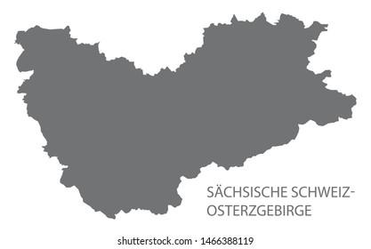 Saechsische Schweiz- - Osterzgebirge grey county map of Saxony Germany DE