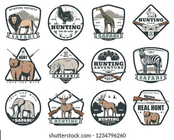 Safari adventure and hunting sport icons, animals and ammunition. Lion and blackcock, giraffe and hare, bear and rhino, zebra and elephant, deer and moose. Cartridge belt and crossbow, rifle and knife