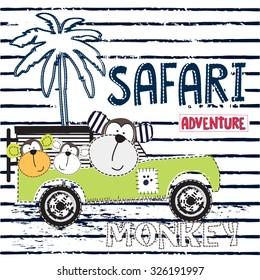 safari adventure with monkey vector illustration