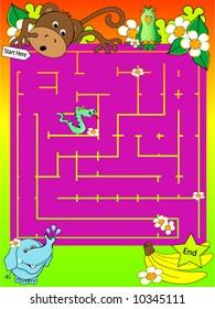Safari Animal Maze Vector.