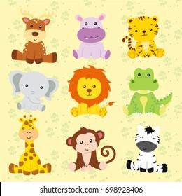 Safari animal vector with doll theme