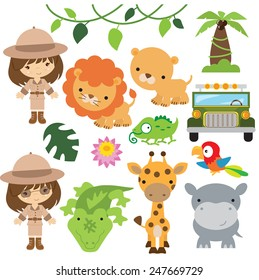 Safari animal vector illustration