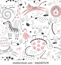 safari animals pattern, summer kid print