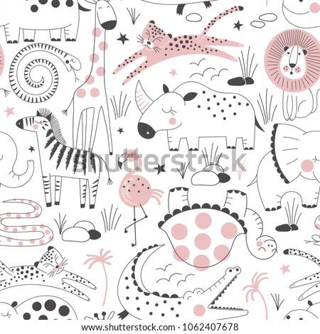 Stock vektory na téma Safari Animals Pattern Summer Kid