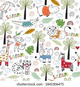 Safari animals. Seamless pattern. Animals Africa, flora and fauna elements. Fairy Tale kid textile, wrapping paper, background. Vector cartoon illustration. - Shutterstock ID 1845306475
