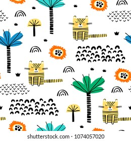 Safari animals seamless pattern with cute tigers and tropical plants. Vector texture in childish style great for fabric and textile, wallpapers, backgrounds, cards design