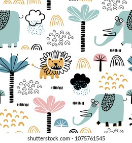 Safari animals seamless pattern with cute elephants, dangerous lion and tropical plants. Vector texture in childish style great for fabric and textile, wallpapers, backgrounds. Pastel colors.