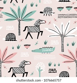 Safari animals seamless pattern with cute zebra, dangerous alligator, turtle and tropical plants. Vector texture in childish style great for fabric and textile, wallpapers, backgrounds. Pastel colors.