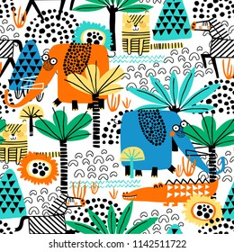 Safari animals seamless pattern with cute zebra, funny elephant, dangerous alligator, tiger and tropical plants. Vector texture in childish style great for fabric and textile, wallpapers, backgrounds.