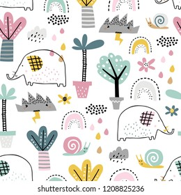 Safari animals seamless pattern with cute elephants, snail and tropical plants. Vector texture in childish style great for fabric and textile, wallpapers, backgrounds. Pastel colors.
