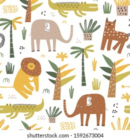Safari animals seamless pattern with cute elephant, alligator, wild cat, cute lion and tropical plants. Vector texture in childish style great for fabric and textile, backgrounds.