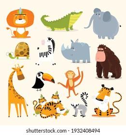 Safari animals set. Vector animals. Wild animals. Cartoon characters.