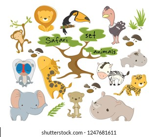 Safari animals set. Wild animals and savannah trees. Hand drawn vector illustration. Can be used for school, zoo or birthday party style.