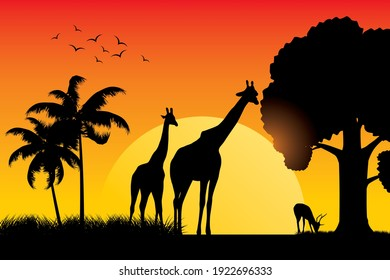 Safari-Tier-Silhouette auf Sonnenuntergang, Vektorgrafik