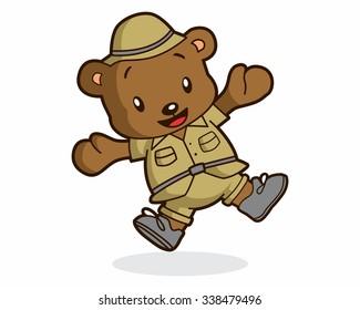 safari bear character illustration logo icon vector