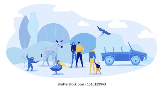 Safari Car Tour to Open Air Zoo. Cartoon People with Children Visiting African Zoological Park. Wild Animals and Birds Meeting Gests. Exciting Entertainment on Vacation. Vector Flat Illustration