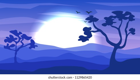 Safari cartoon background, desert savanna panorama and landscape with trees, hills, dunes and moon. Safary layered panoramic background, savannah dune landscape, African dune night time design.