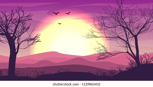 Safari cartoon background, desert savanna panorama and landscape with trees, hills, dunes and moon. Desert layered panoramic background, savannah dune landscape, African dune night time design in