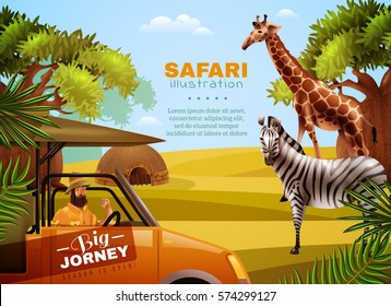 Safari colored poster with big journey headline and tourist with animals in his way vector illustration