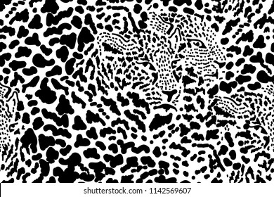 Safari dreams. Grunge background with chaotic leopard spots. Seamless vector animal print. Ethnic textile collection. Black, white.