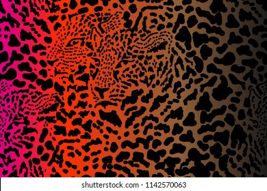 Safari dreams. Grunge background with chaotic leopard spots. Seamless vector animal print. Ethnic textile collection. Red, black, brown.