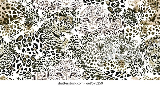 Safari dreams. Grunge background with leopard spots. Seamless vector animal print. Ethnic textile collection. Black, white, grey.
