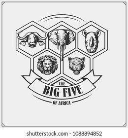 Safari emblem with Big Five animals. Lion, elephant, rhino, leopard and buffalo.