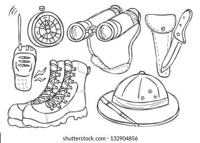 safari equipment doodle
