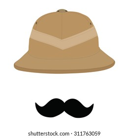 Safari hat and black mustache, pith helmet, safari hat isolated, headware. Traveler concept or symbol