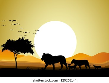 safari of lion family with sunrise background