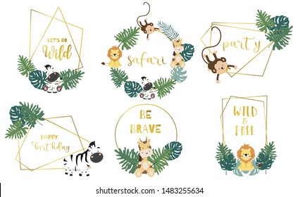 Safari object set with animal,monkey,giraffe,zebra,lion,leaves. illustration for logo,sticker,postcard,birthday invitation.Editable element