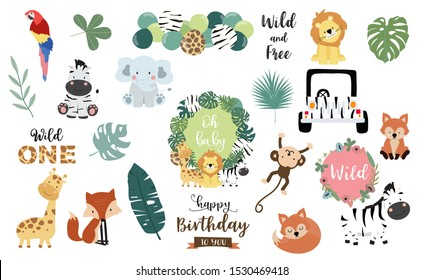 Safari object set with fox,giraffe,zebra,lion,leaves,elephant. illustration for sticker,postcard,birthday invitation.Editable element