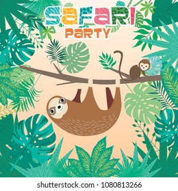 Safari party poster with sloth and monkey. Editable vector illustration