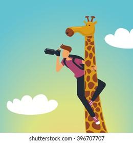 Safari. Photographer with a giraffe