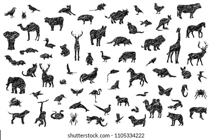 Safari Sketch funny realistic Pencil collection of animals silhouettes drawn drawing print Vector zebra Rabbit Dog Cat Giraffe monkey Deer Butterfly Wolf Cow Snake Spider Knight Farm doodle bones icon