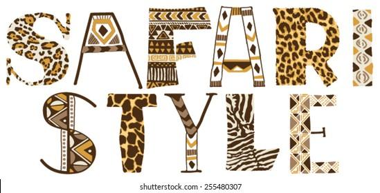 Safari style, vector print for women t-shirt in custom colors
