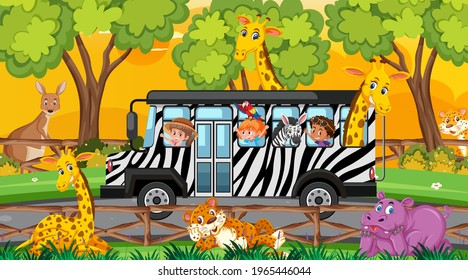 Safari at sunset scene with children and animals on the bus illustration