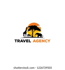 safari traveling. African wild animals silhouettes icon style design