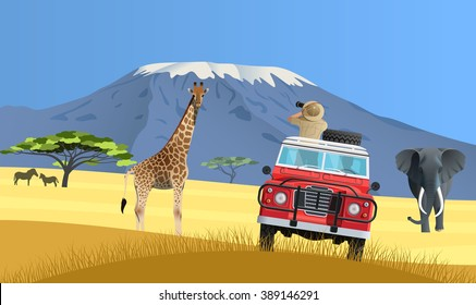 Safari truck in African savannah