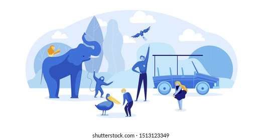 Safari Zoo Park Trip on Car for Children with Personal Guide. Man Shows Kids Beauty of Savannah Wild World with Exotic Animals and Bird. African Jungle Travel. Cutout Cartoon. Vector Flat Illustration
