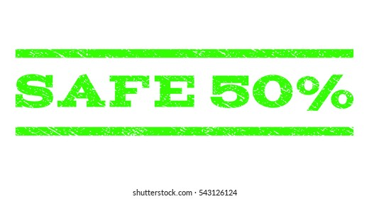 Safe 50 Percent watermark stamp. Text tag between horizontal parallel lines with grunge design style. Rubber seal stamp with scratched texture.