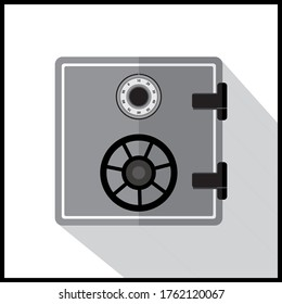Safe Armored box illustration. The door safe a bank vault with a combination lock. Reliable Data Protection. Long-term savings. Deposit box safe icon. Protection of personal information