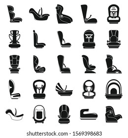 Safe baby car seat icons set. Simple set of safe baby car seat vector icons for web design on white background