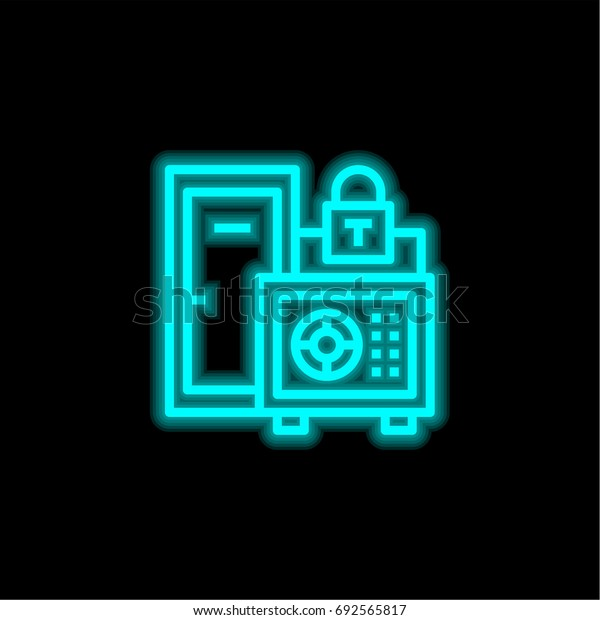 Safe box blue glowing neon ui ux icon. Glowing sign logo vector