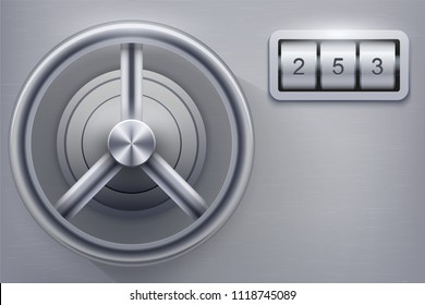 Safe with combination lock. Concept of high security and quest room games. Vector Illustration