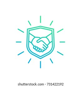safe deal, trust, partnership icon with handshake